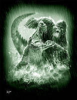 Bigfoot vs Gator by littlewing2