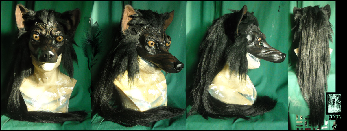 Black Werewolf Masquerade Mask by Magpieb0nes