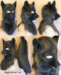 Black Wolf Head and Tail