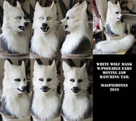 White Wolf Head and Tail Set by Magpieb0nes
