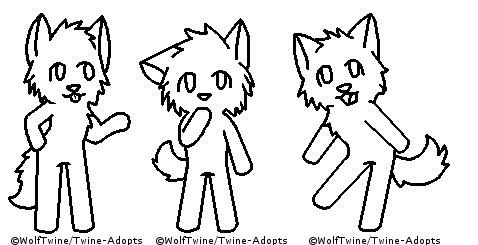 MS Paint - Chibi Wolves Lineart by Twine-Adopts