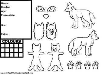 Free Wolf Reference Sheet Lineart - MS Paint by Twine-Adopts