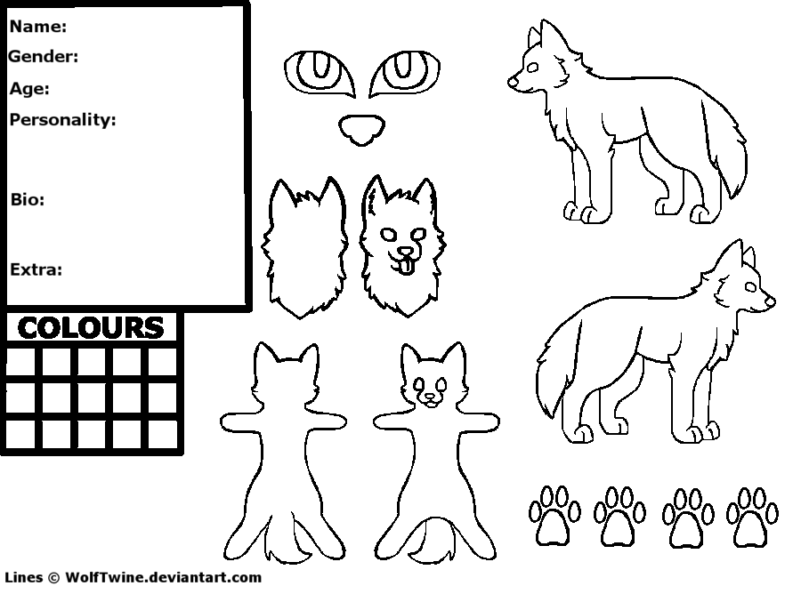 fursuit coloring pages - free wolf reference sheet lineart ms paint by twine