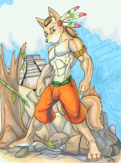 aztec wolf by wolfgangcake