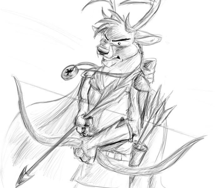 Archer Deer Sketch by crewwolf