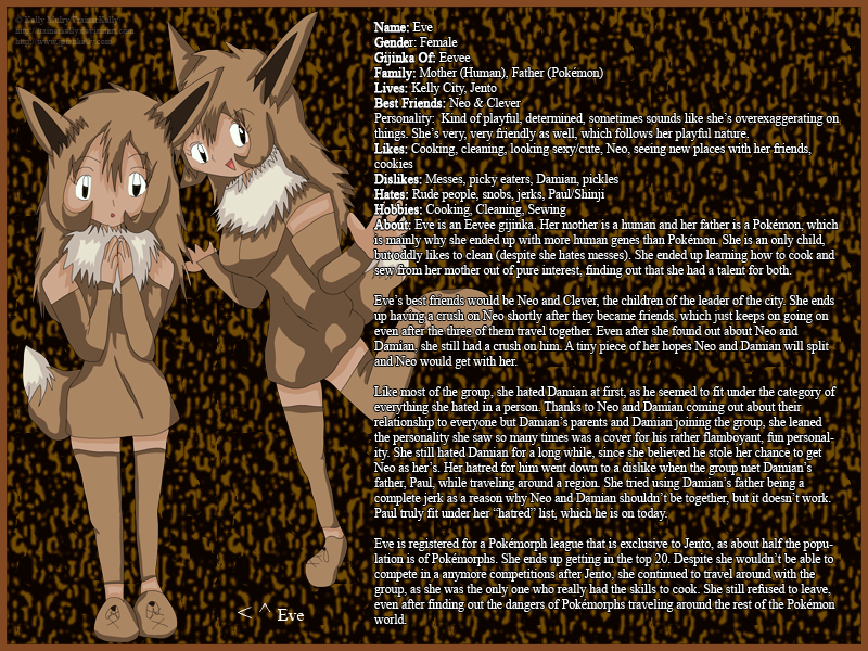 Eve, The Eevee Gijinka by TrainerKelly