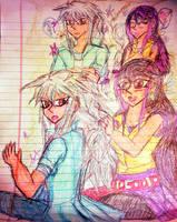 Ruri Braiding Bakura's hair