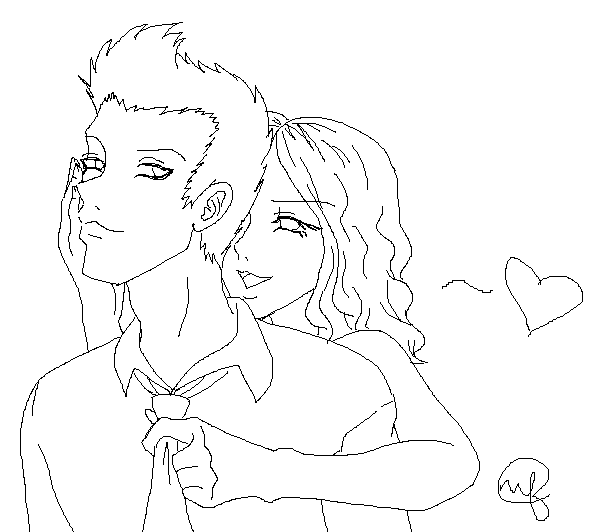 Line Art Couple : Couple lineart by bunnystar on deviantart