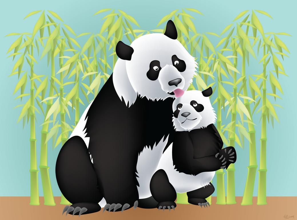 Panda Kiss by kookybat