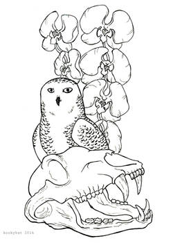 Flowers and Owl and Skull