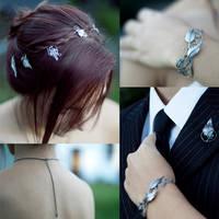 Handmade Leaf Wedding Set Details