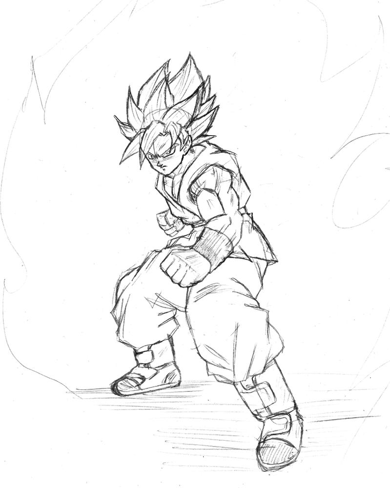 son goku super saiyan god super saiyan sketch by bl sama