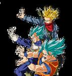 Trunks Vegeta Goku TeamsUp render