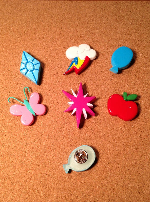 Cutie Mark Pins: Mane 6 by ChrisWithATa