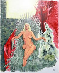 Daenerys Targaryen on the Iron Throne by Strooitje