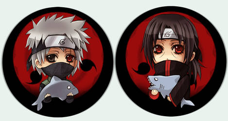 Naruto button set Sharingan by Radittz