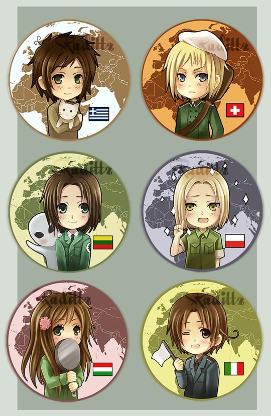 Axis Powers Hetalia button set by Radittz