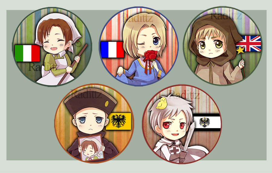 Hetalia chibi nations set 1 by Radittz