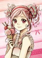 White Chocolate Strawberry Ice Cream by Radittz