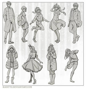 Various poses in casual clothes
