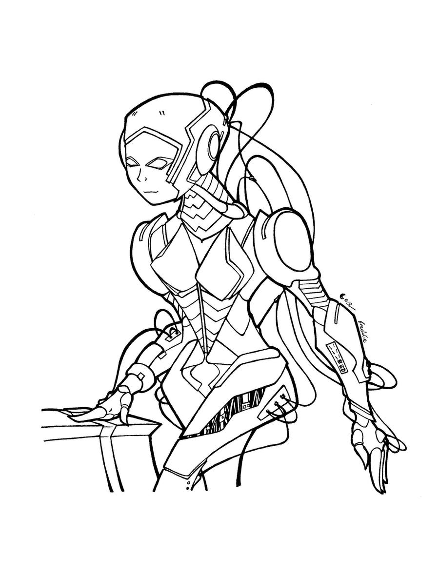 Line Art Robot : Robot girl line art by justicity comics on deviantart