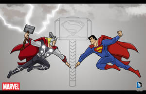 Thor vs Superman by momarkey