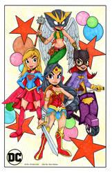 Wonder Woman, Supergirl, Batgirl, and Hawkgirl