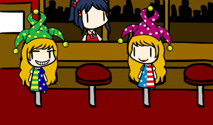 USA Clownpiece and BR Clownpiece in the Miko's Bar