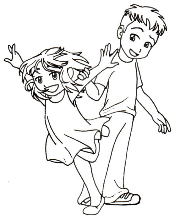 Line Art For Kids : Anime kids line art by takineko on deviantart