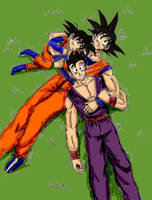 Goku's boys digital color by Takineko