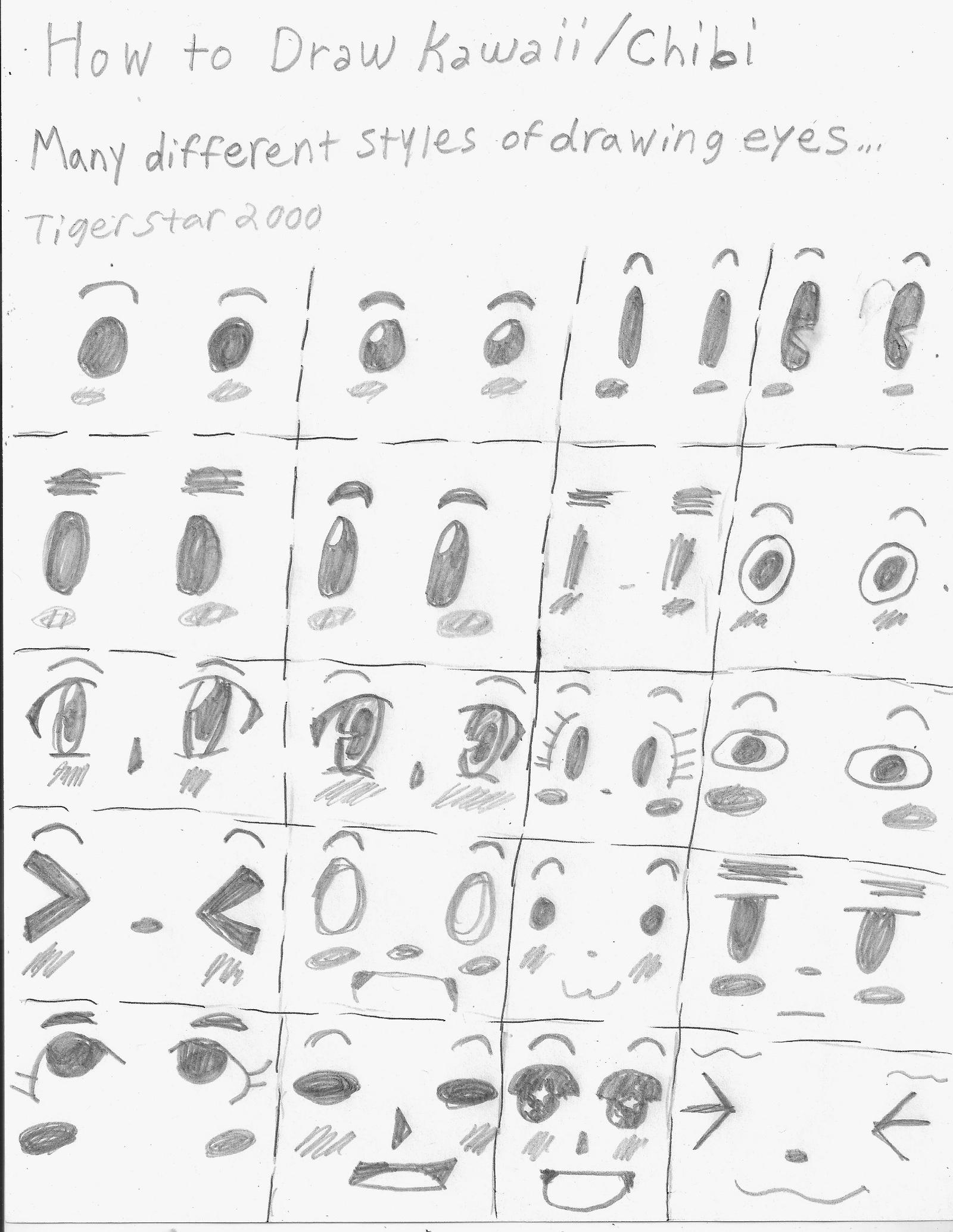 how to draw kawaii eyes step by step