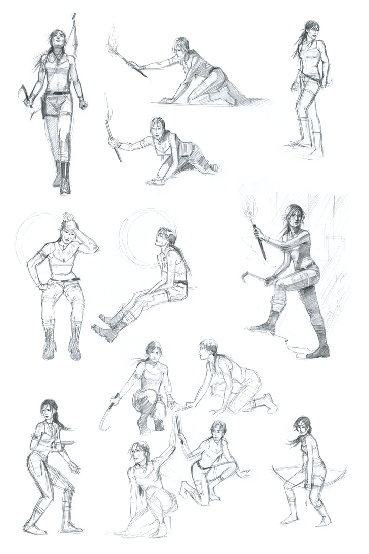 Lara Croft Sketch Compilation by characterundefined