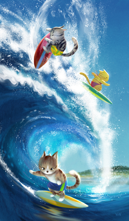 Pawsome Surfers by polkapills