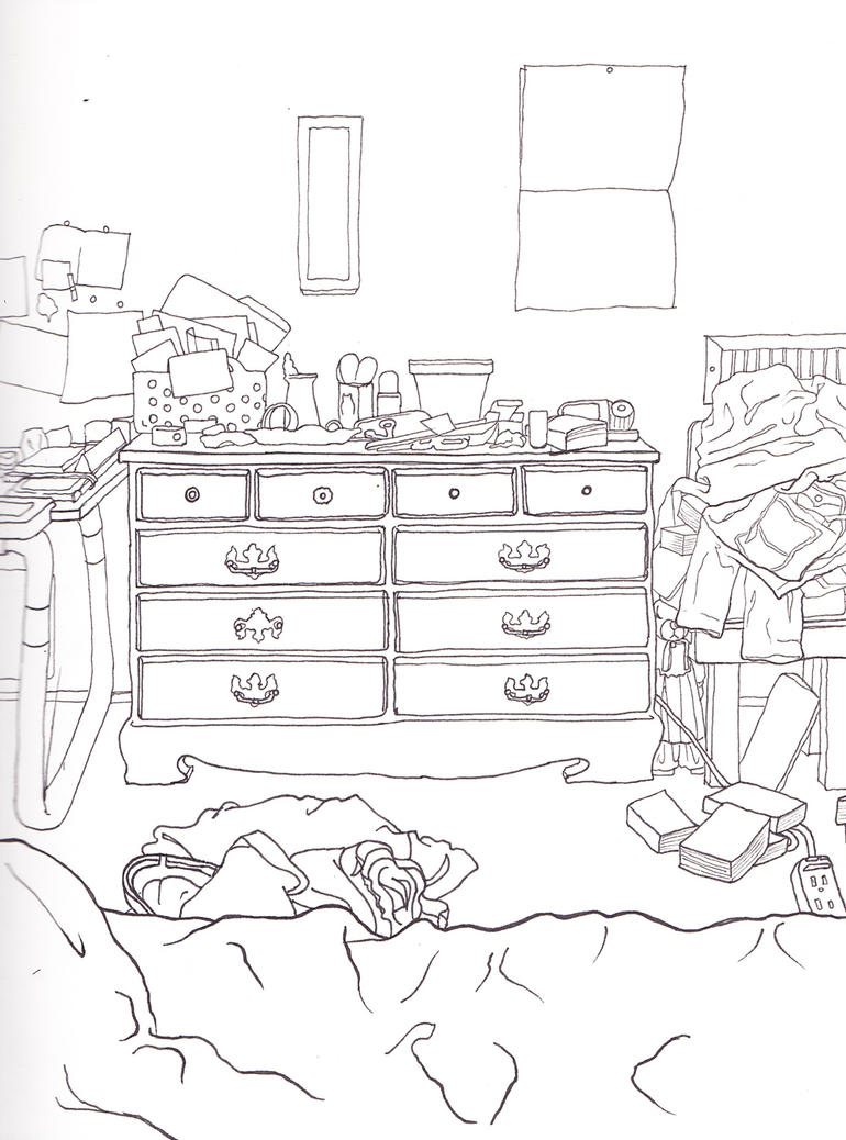 Messy bedroom sketch by manden on deviantart for Draw my room