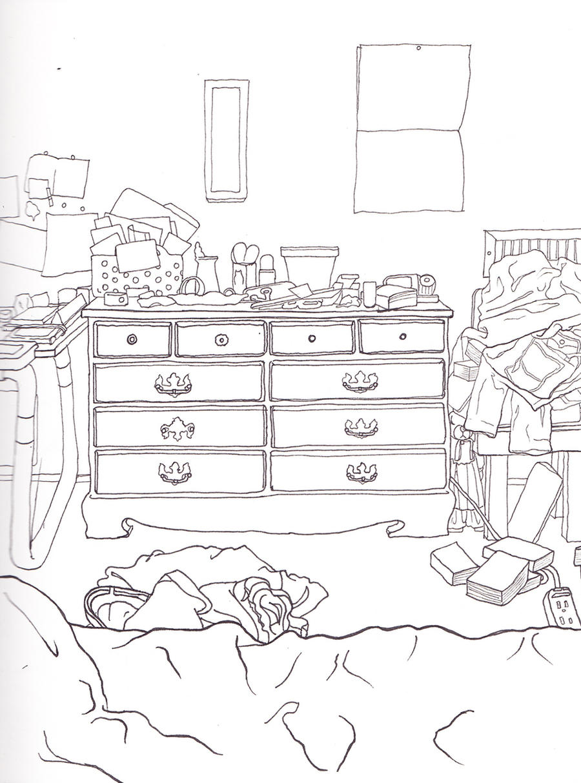 Bedroom Drawing: Messy Bedroom Sketch By Manden On DeviantArt