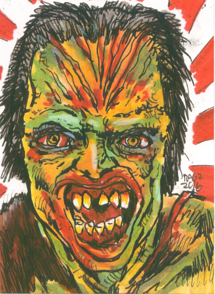 Frankenstein Conquers The World Sketchcard by ragzdandelion
