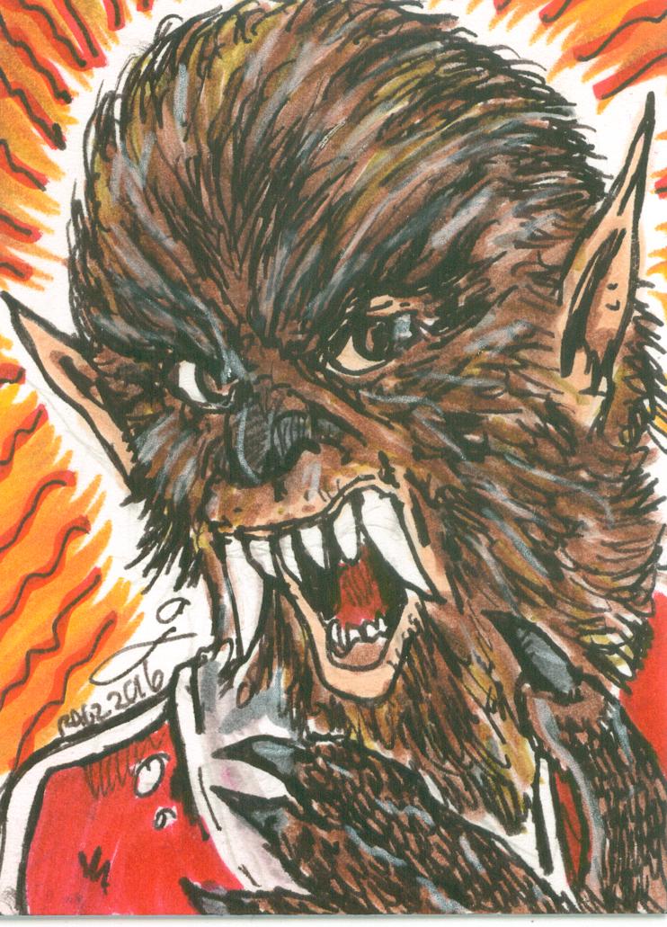 Teenage Werewolf Sketchcard by ragzdandelion
