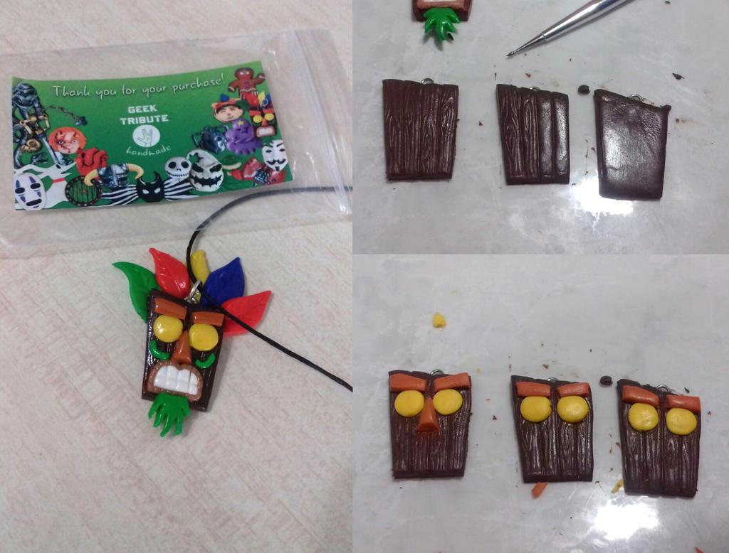 Making Aku Aku mask - polymer clay :D by Ragamuffyn