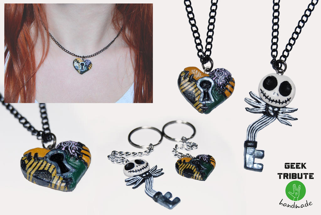 Jack and Sally pendant and keychain by Ragamuffyn