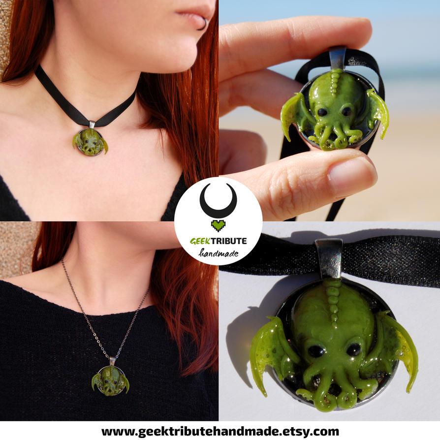 Baby Cthulhu necklace - Polymer clay by Ragamuffyn