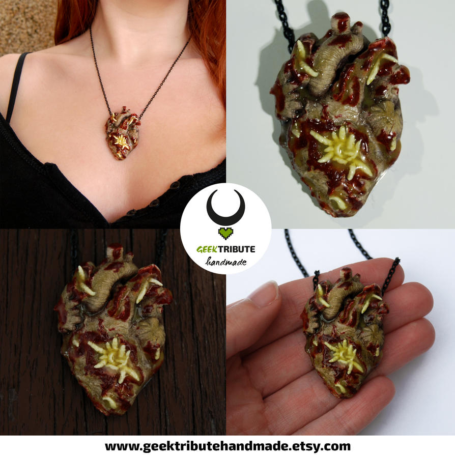 Zombie Heart Necklace by Ragamuffyn