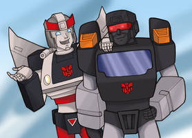 Bluestreak and Trailbreaker by LadySokolov