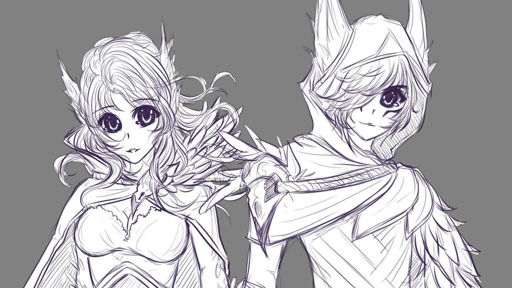 League of Legends: Rakan and Xayah [Genderbend] by KuroKnight1634