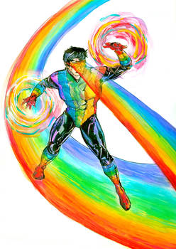 Rainbow Raider - watercolor experiment