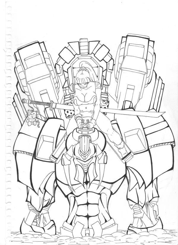 Line Art Robot : My pet robot line art by flo jitz on deviantart