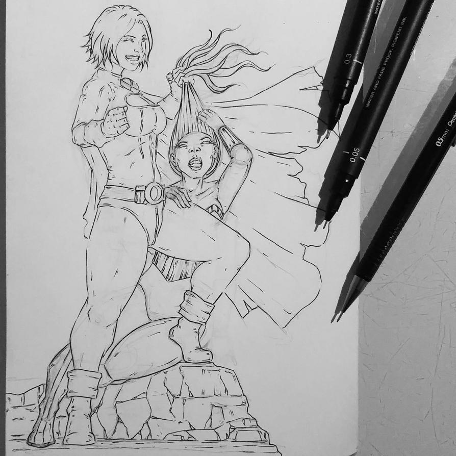 Power Girl Vs Wonder Woman WIP by Flo-Jitz