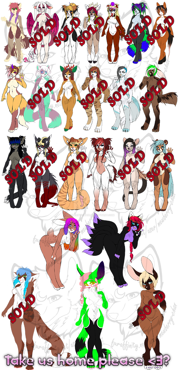 Left over Adopts by Mewberry-Chan
