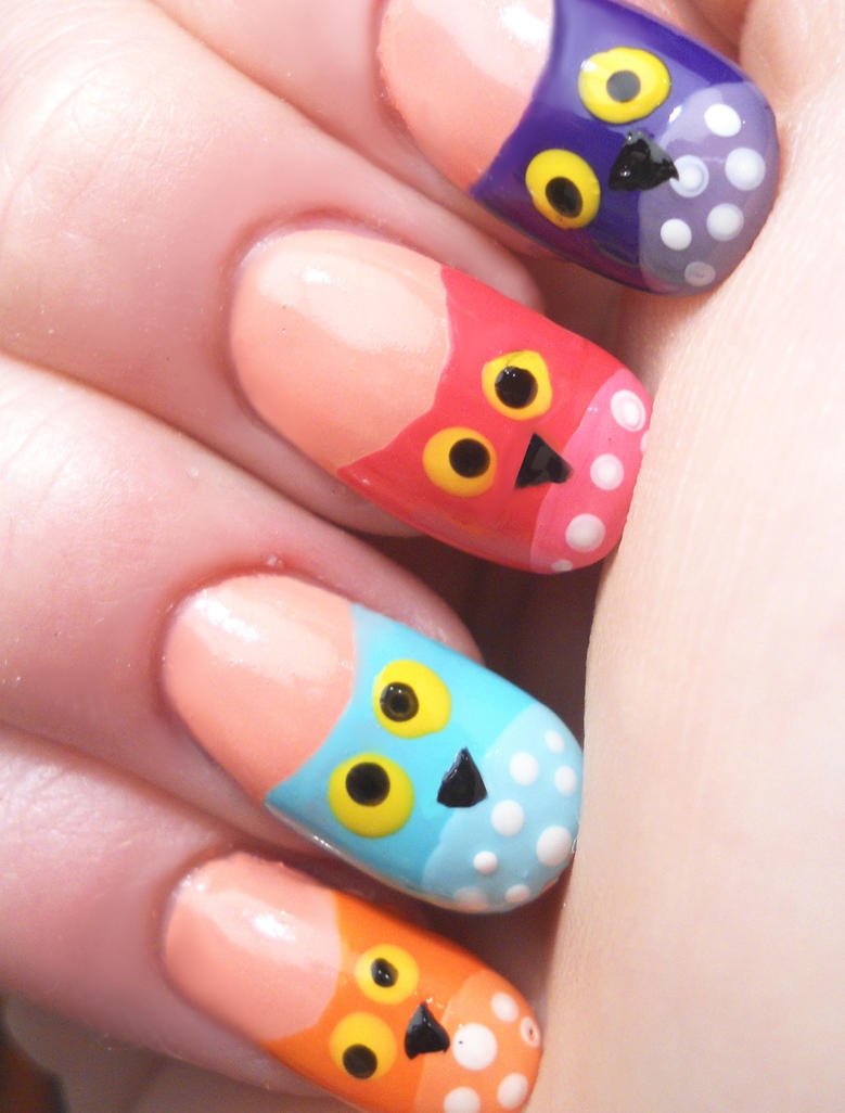 Owl nail art by NinaInversemoon on DeviantArt