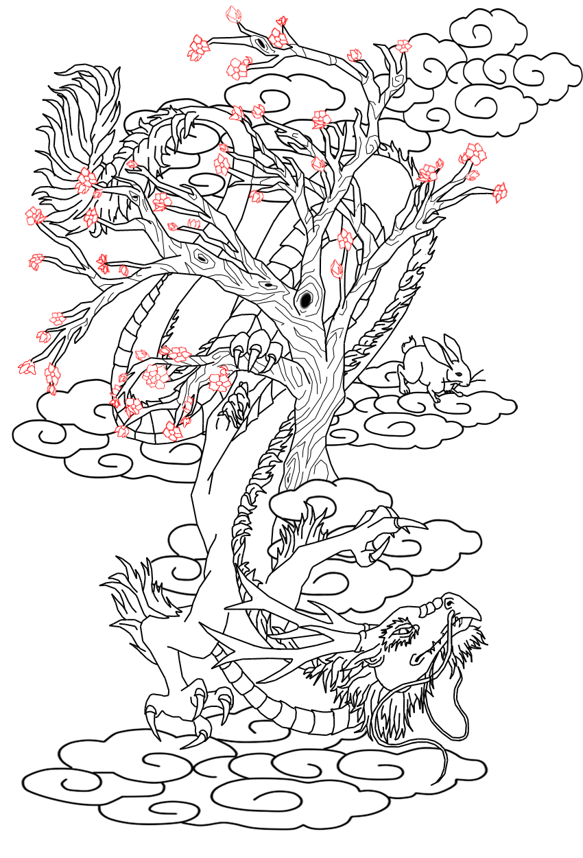 tattoo design chinese dragon and hare by kitiharumi on deviantart. Black Bedroom Furniture Sets. Home Design Ideas