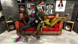 Anthro Dragon Posse by CircleA61